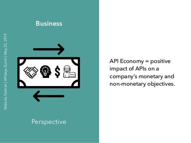 API Economy = positive impact of APIs on a company's monetary and non-monetary objectives. Business Perspective MelanieGab...