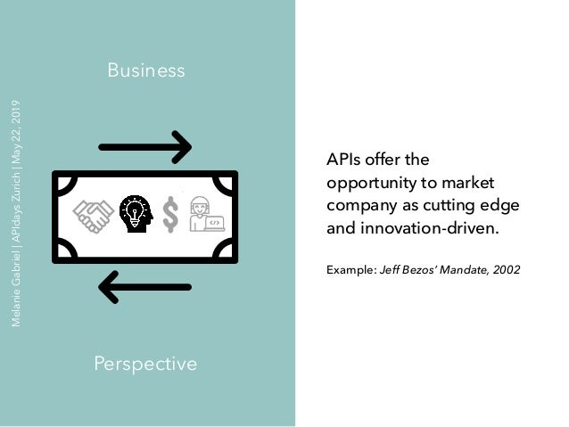 APIs offer the opportunity to market company as cutting edge and innovation-driven. Example: Jeff Bezos' Mandate, 2002 Bus...