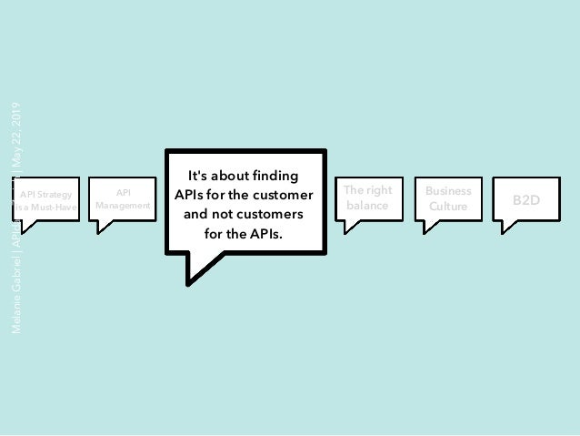 It's about finding APIs for the customer and not customers for the APIs. The right balance Business Culture B2D API Managem...