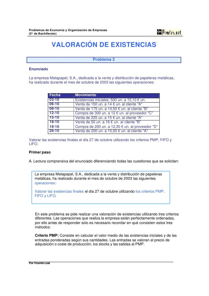 Problemas de Economía y Organización de Empresas (2º de Bachillerato)                      VALORACIÓN DE EXISTENCIAS      ...