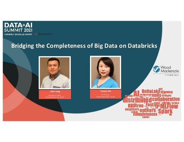 Bridging the Completeness of Big Data on Databricks Yanyan Wu VP of Data Wood Mackenzie, Verisk Chao Yang Director of Data...