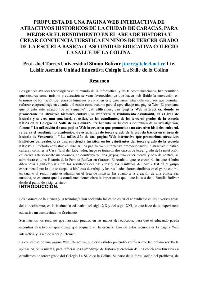PROPUESTA DE UNA PAGINA WEB INTERACTIVA DE ATRACTIVOS HISTORICOS DE LA CIUDAD DE CARACAS, PARA MEJORAR EL RENDIMIENTO EN E...