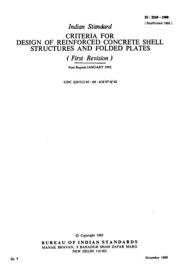 I!3:2210-1988 Indian St&mhrd CRITERIA FOR DESIGN OF REINFORCED CONCRETE SHELL STRUCTURES AND FOLDED PLATES ( First Revisio...
