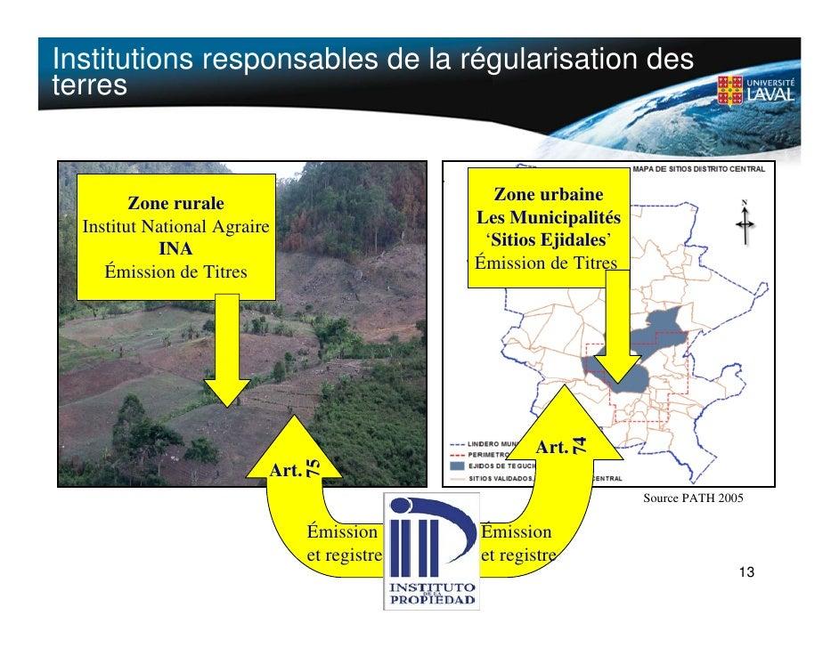 Institutions responsables de la régularisation des terres            Zone rurale                             Zone urbaine ...