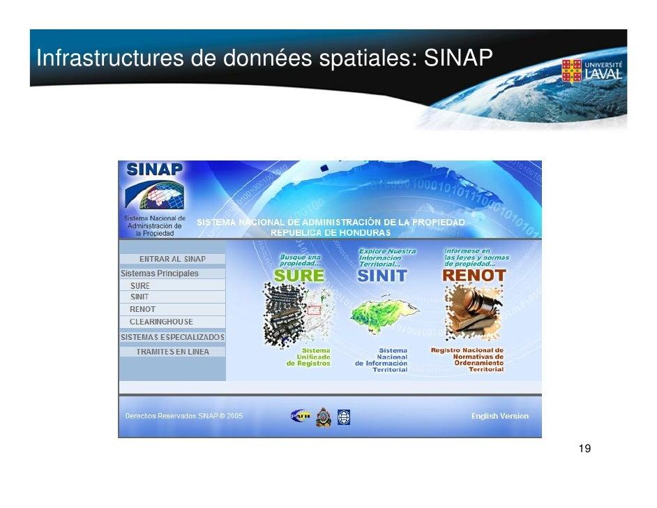 Infrastructures de données spatiales: SINAP                                                   19