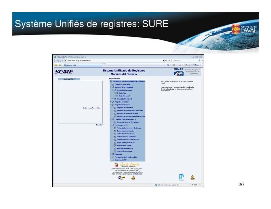 Système Unifiés de registres: SURE                                          20