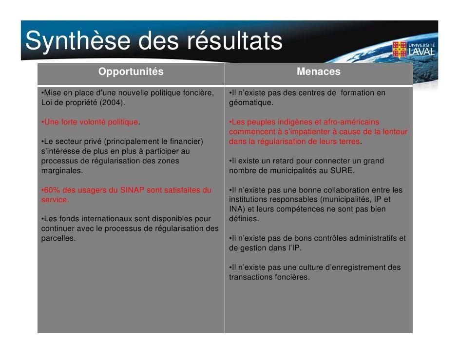 Synthèse des résultats                  Opportunités                                           Menaces  •Mise en place d'u...