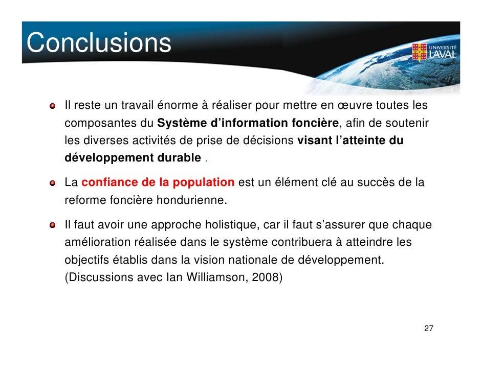 Conclusions    Il reste un travail énorme à réaliser pour mettre en œuvre toutes les   composantes du Système d'informatio...