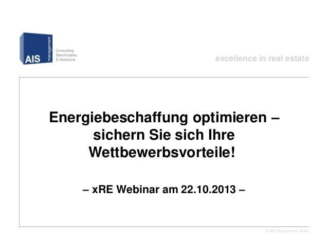 excellence in real estate  Energiebeschaffung optimieren – sichern Sie sich Ihre Wettbewerbsvorteile!! – xRE Webinar am 22...