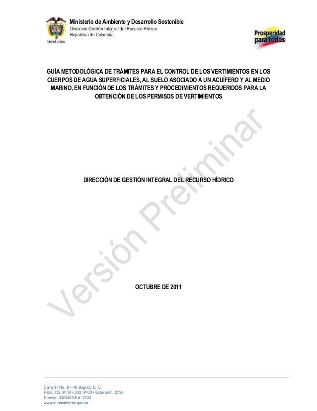 1 Ministerio de Ambiente y Desarrollo Sostenible Dirección Gestión Integral del Recurso Hídrico República de Colombia Call...
