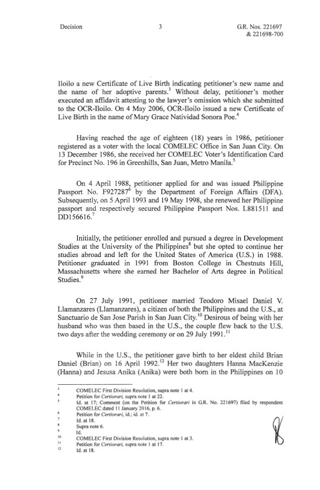 Mary Grace Natividad S Poe Llamanzares Vs Commission On Elections A