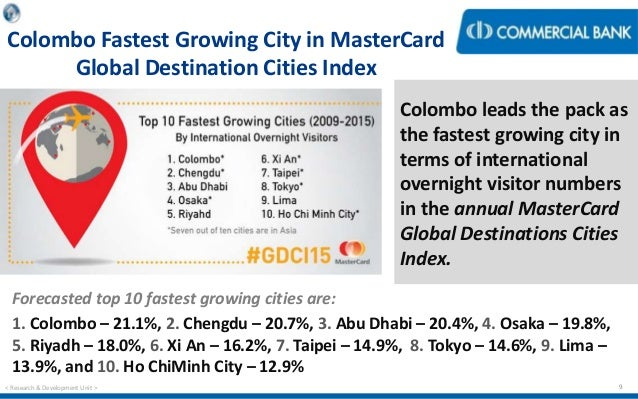 Economic Capsule May - The 10 fastest growing destination cities of 2015