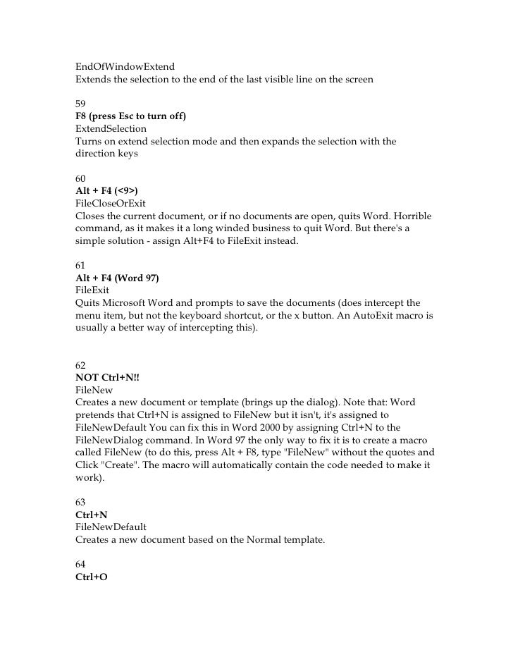 221 microsoft word shortcuts The keyboard shortcuts that i chose to map were much like the emacs keyboard shortcuts during a string replacement here is the map of the microsoft word commands and the keyboards i mapped: acceptallchangesindoc.