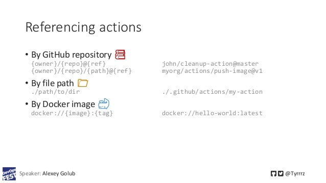 Referencing actions • By GitHub repository 📚 {owner}/{repo}@{ref} john/cleanup-action@master {owner}/{repo}/{path}@{ref} m...