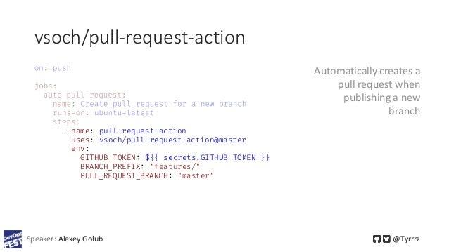 vsoch/pull-request-action Speaker: Alexey Golub @Tyrrrz - name: pull-request-action uses: vsoch/pull-request-action@master...