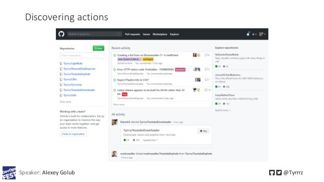 Discovering actions Speaker: Alexey Golub @Tyrrrz
