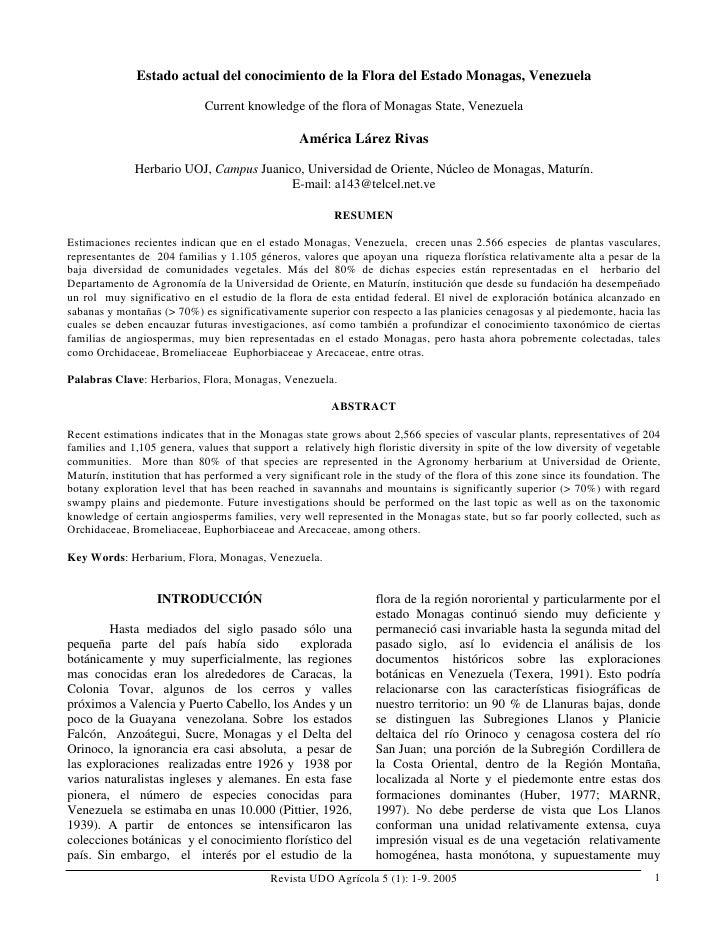 Estado actual del conocimiento de la Flora del Estado Monagas, Venezuela                             Current knowledge of ...