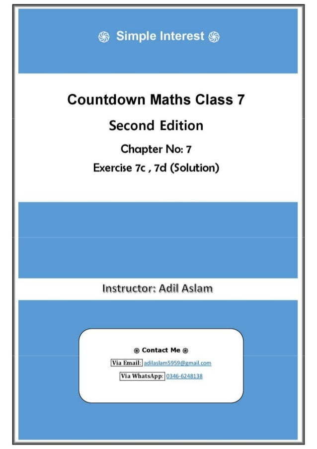 Countdown Mathematics Class 7th Second Edition Chapter 7 Solution (Simple Interest)