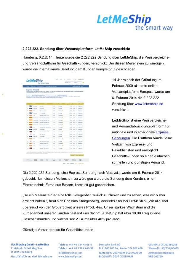 2.222.222. Sendung über Versandplattform LetMeShip verschickt Hamburg, 6.2.2014. Heute wurde die 2.222.222 Sendung über Le...