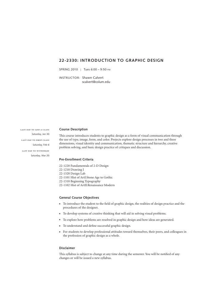 Intro to Graphic Design syllabus