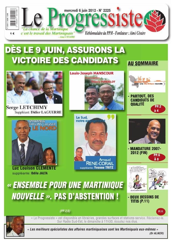mercredi 6 juin 2012 - N° 2225 1€DÈS LE 9 JUIN, ASSURONS LA VICTOIRE DES CANDIDATS                                        ...