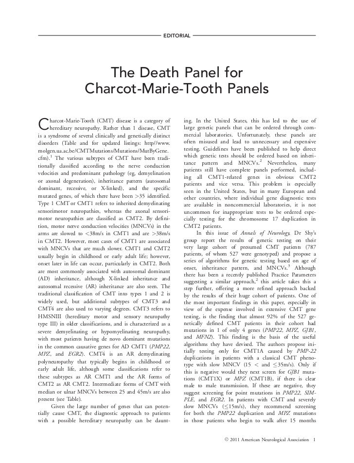 EDITORIAL                        The Death Panel for                     Charcot-Marie-Tooth PanelsC     harcot-Marie-Toot...