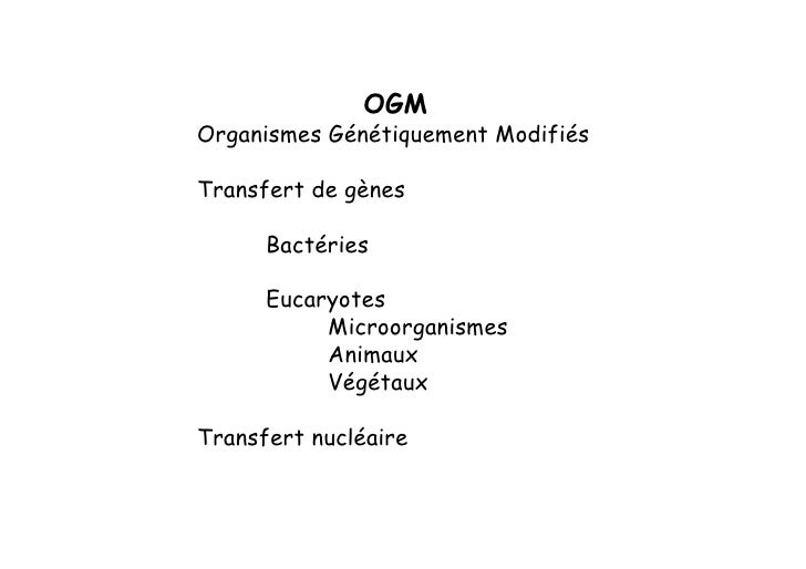 OGM Organismes Génétiquement Modifiés  Transfert de gènes        Bactéries        Eucaryotes            Microorganismes   ...