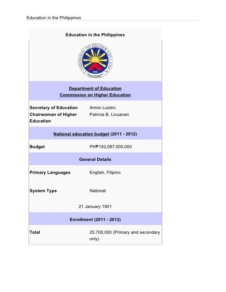 Education in the Philippines                    Education in the Philippines                    Department of Education   ...