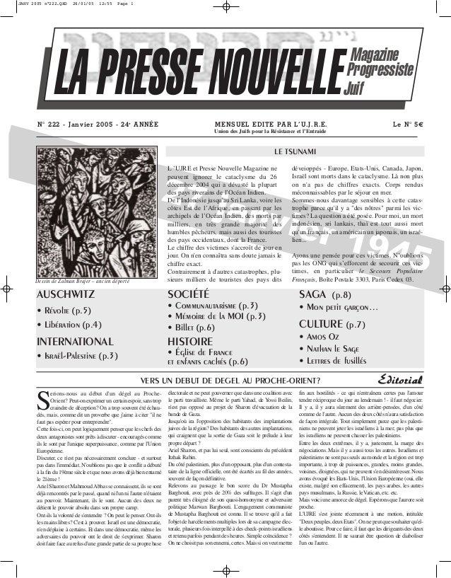 JANV 2005 n°222.QXD  26/01/05  12:55  Page 1  LA PRESSE NOUVELLE N° 222 - Janvier 2005 - 24e A N NÉE  Magazine Progressist...