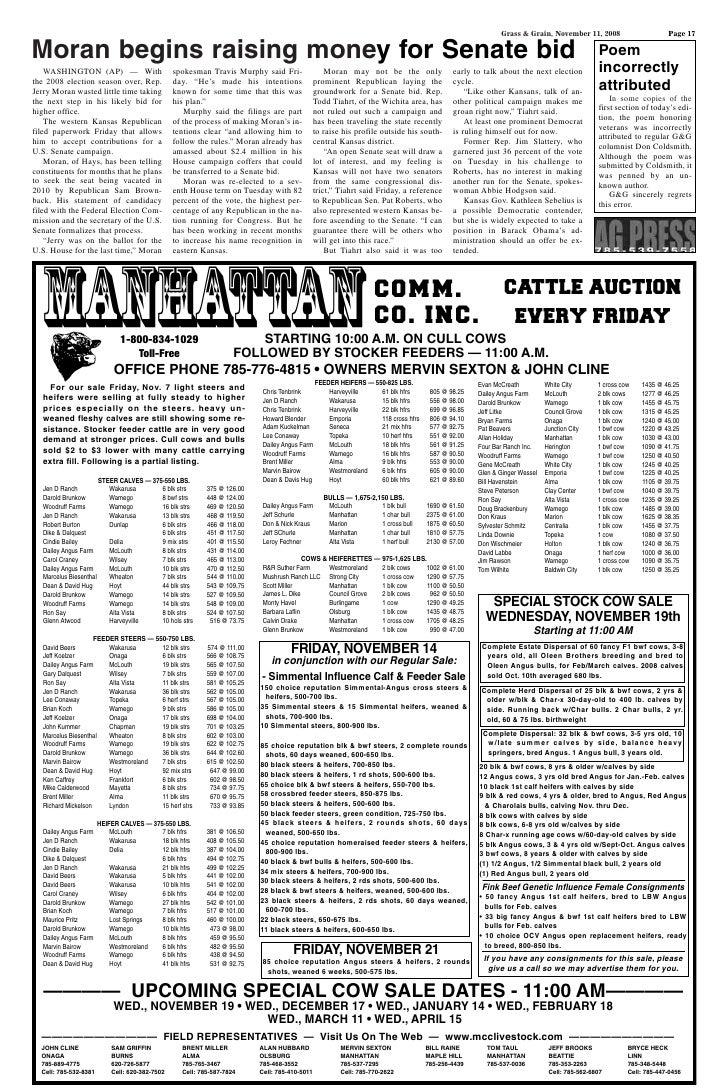 Grass & Grain, November 11, 2008                        Page 17Moran begins raising money for Senate bid                  ...