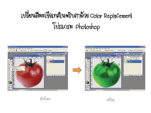 เปลียนสีมะเขือเทศในพริบตาด้วย Color Replacement    ่               โปรแกรม Photoshop        Before                      Af...