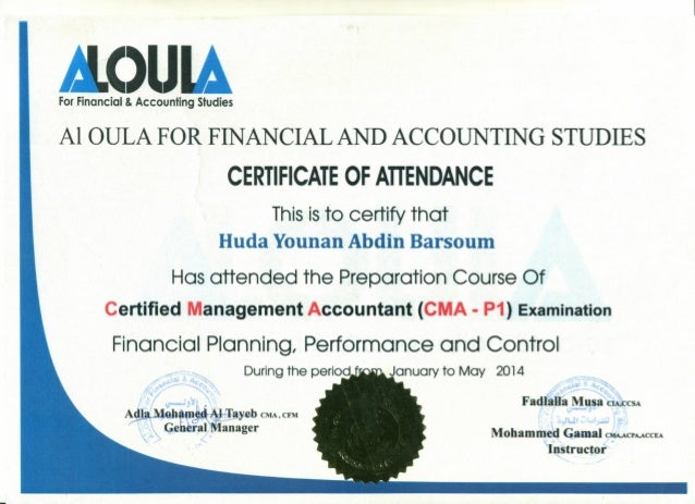 ForFinancial & Accounting Studies Al aULA FOR FINANCIAL AND ACCOUNTING STUDIES CERTIFICATE OF ATIENDANCE Thisisto certify ...