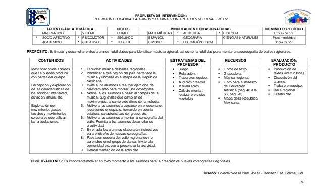 """24 PROPUESTA DE INTERVENCIÓN: """"ATENCIÓN EDUCATIVA A ALUMNOS Y ALUMNAS CON APTITUDES SOBRESALIENTES"""" TALENTO/ÁREA TEMÁTICA ..."""