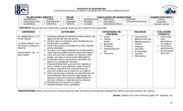 """37 PROPUESTA DE INTERVENCIÓN: """"ATENCIÓN EDUCATIVA A ALUMNOS Y ALUMNAS CON APTITUDES SOBRESALIENTES"""" TALENTO/ÁREA TEMÁTICA ..."""