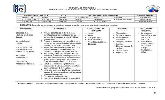 """40 PROPUESTA DE INTERVENCIÓN: """"ATENCIÓN EDUCATIVA A ALUMNOS Y ALUMNAS CON APTITUDES SOBRESALIENTES"""" TALENTO/ÁREA TEMÁTICA ..."""