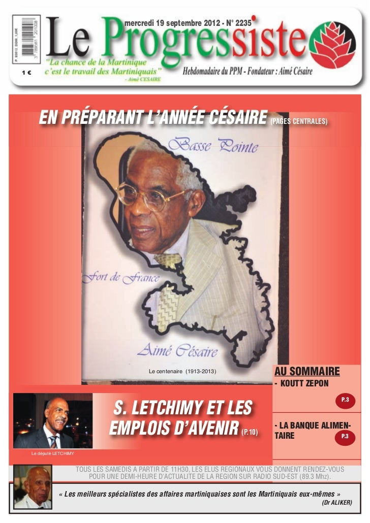 mercredi 19 septembre 2012 - N° 22351€        EN PRÉPARANT L'ANNÉE CÉSAIRE                                                ...