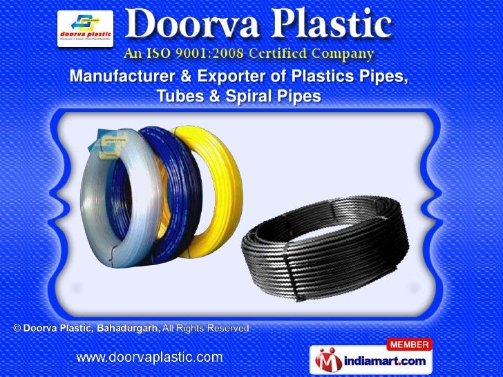 Manufacturer & Exporter of Plastics Pipes,         Tubes & Spiral Pipes