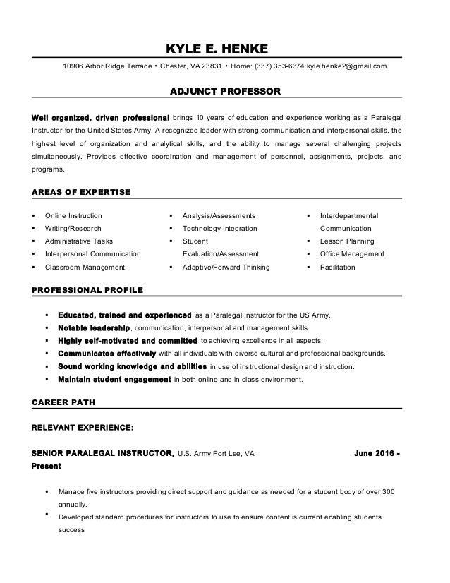 Resume Adjunct Professor