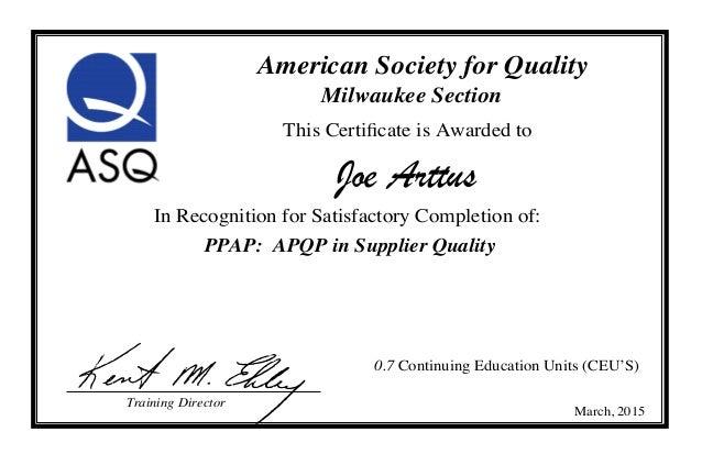 2015 APQP Certificate