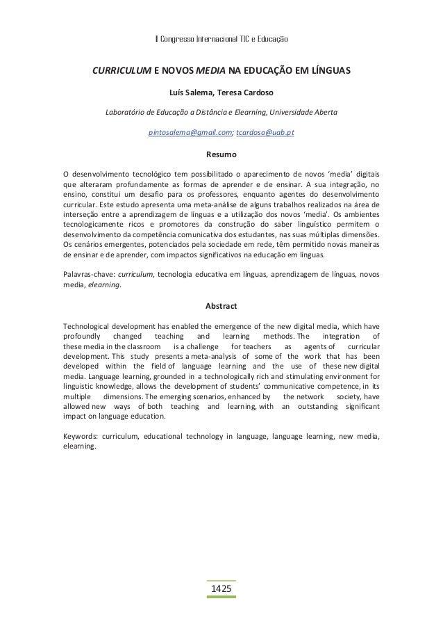 II Congresso Internacional TIC e Educação        CURRICULUM E NOVOS MEDIA NA EDUCAÇÃO EM LÍNGUAS                          ...