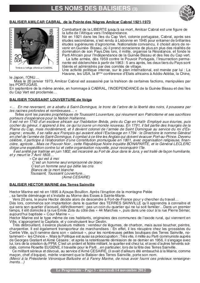 LES NOMS DES BALISIERS (3)BALISIER AMILCAR CABRAL de la Pointe des Nègres Amilcar Cabral 1921-1973                        ...