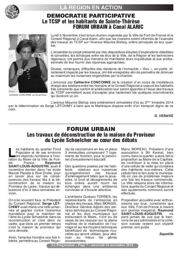 LA REGION EN ACTION                                DEMOCRATIE PARTICIPATIVE                              Le TCSP et les ha...