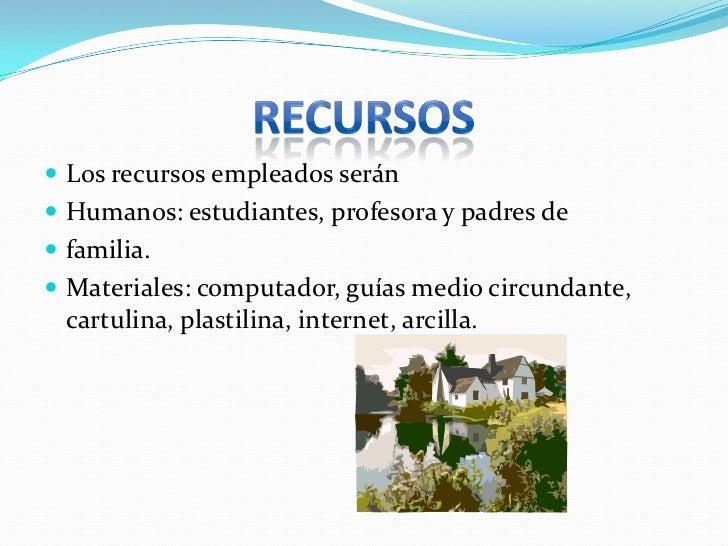 RECURSOS<br />Los recursos empleados serán <br />Humanos: estudiantes, profesora y padres de <br />familia.<br />Materiale...