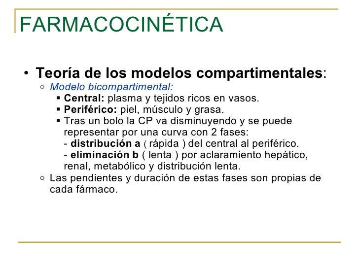 FARMACOCINÉTICA <ul><ul><li>Teoría de los modelos compartimentales : </li></ul></ul><ul><ul><ul><li>Modelo bicompartimenta...
