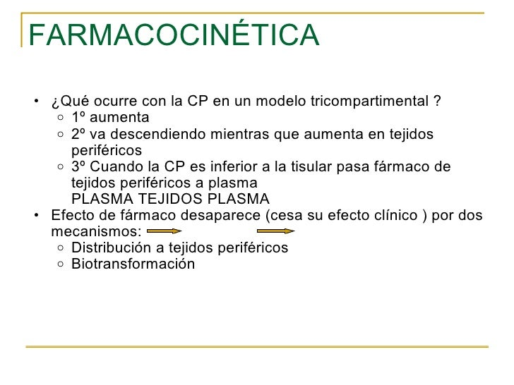 FARMACOCINÉTICA <ul><ul><li>¿Qué ocurre con la CP en un modelo tricompartimental ? </li></ul></ul><ul><ul><ul><li>1º aumen...