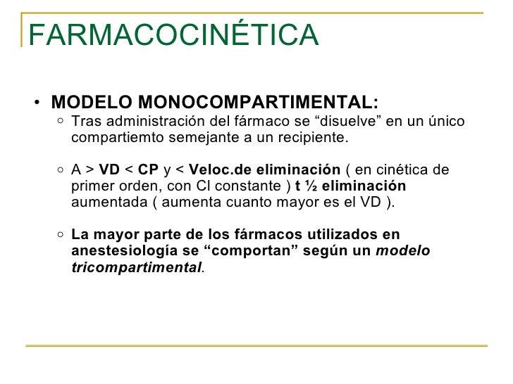 """FARMACOCINÉTICA <ul><ul><li>MODELO MONOCOMPARTIMENTAL: </li></ul></ul><ul><ul><ul><li>Tras administración del fármaco se """"..."""