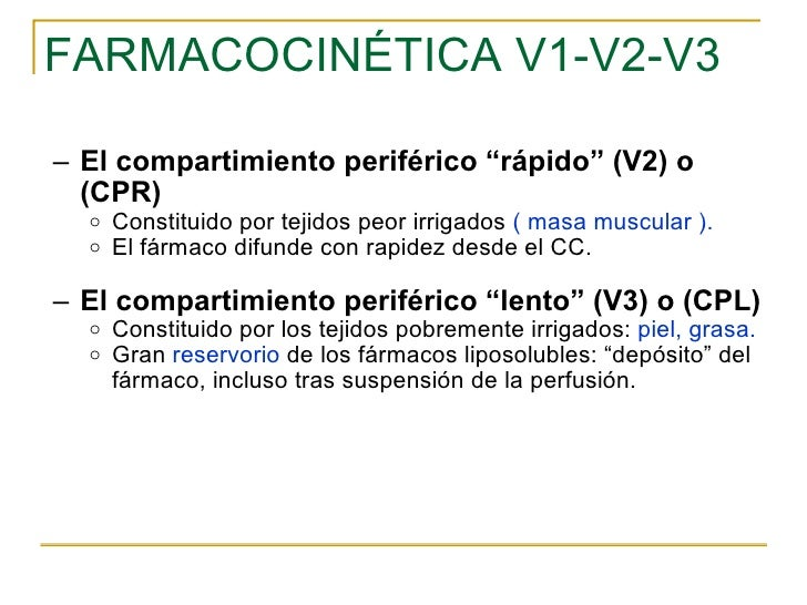 "FARMACOCINÉTICA V1-V2-V3 <ul><ul><li>El compartimiento periférico ""rápido"" (V2) o (CPR)  </li></ul></ul><ul><ul><ul><li>Co..."