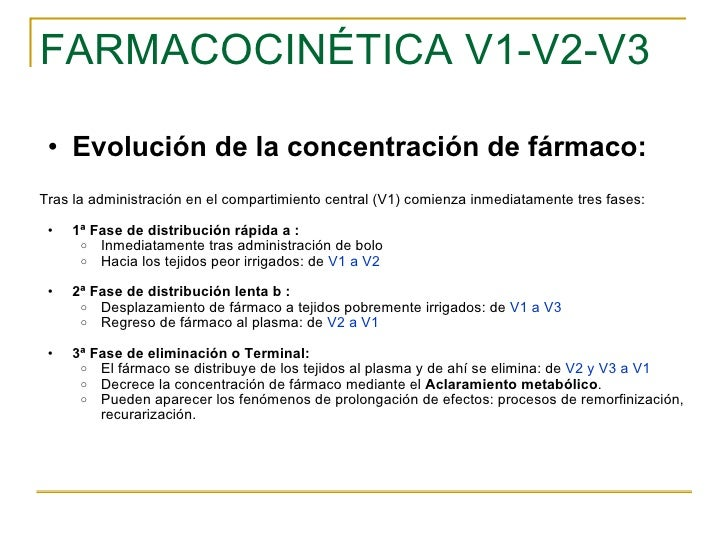 FARMACOCINÉTICA V1-V2-V3 <ul><ul><li>Evolución de la concentración de fármaco: </li></ul></ul><ul><li>Tras la administraci...
