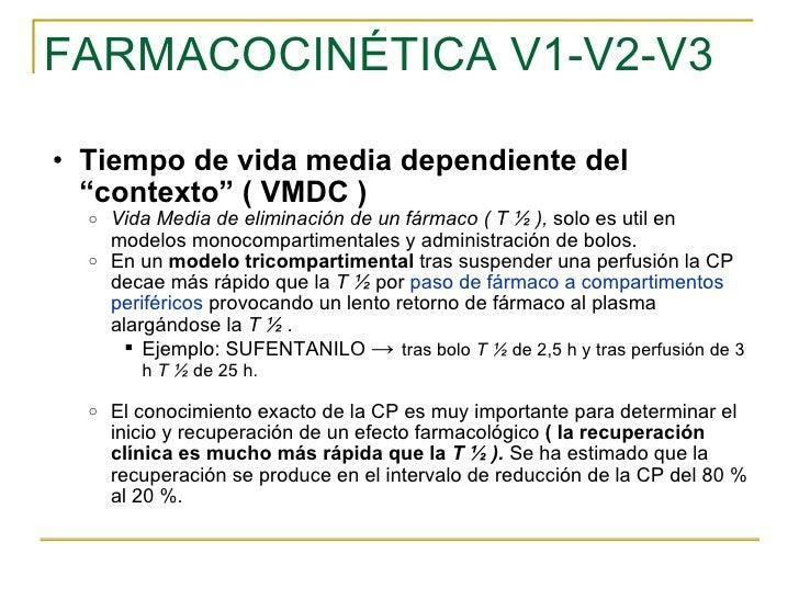 """FARMACOCINÉTICA V1-V2-V3 <ul><ul><li>Tiempo de vida media dependiente del """"contexto"""" ( VMDC ) </li></ul></ul><ul><ul><ul><..."""