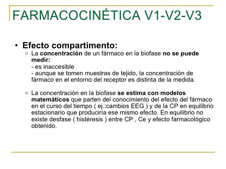 FARMACOCINÉTICA V1-V2-V3 <ul><ul><li>Efecto compartimento: </li></ul></ul><ul><ul><ul><li>La  concentración  de un fármaco...